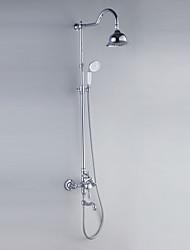 Недорогие -Смеситель для душа - Современный Хром Душевая система Керамический клапан Bath Shower Mixer Taps / Одной ручкой три отверстия