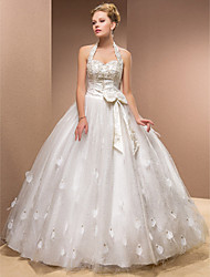cheap -Ball Gown Wedding Dresses Halter Neck Sweetheart Neckline Floor Length Tulle Sleeveless with 2021