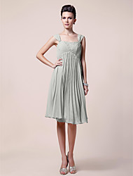 cheap -A-Line Mother of the Bride Dress Open Back Straps Knee Length Chiffon Sleeveless with Pleats Beading Draping 2020