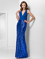 cheap -Mermaid / Trumpet Prom Formal Evening Military Ball Dress Halter Neck V Neck Sleeveless Floor Length Chiffon Sequined with Ruched Beading Side Draping 2021