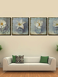 cheap -Modern Still Life Wall Clock in Canvas 4pcs