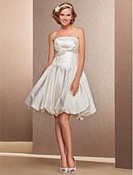 cheap -Ball Gown A-Line Wedding Dresses Strapless Knee Length Satin Sleeveless Little White Dress with 2021