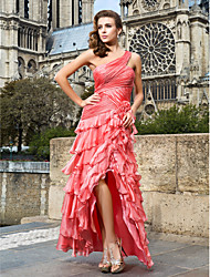 cheap -A-Line High Low Prom Formal Evening Military Ball Dress One Shoulder Sleeveless Asymmetrical Floor Length Chiffon with Side Draping Flower 2021