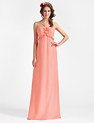 cheap -Princess / A-Line Spaghetti Strap Floor Length Chiffon Bridesmaid Dress with Ruched / Ruffles / Flower