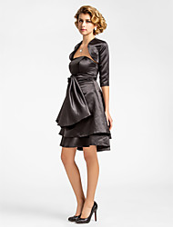 cheap -A-Line Mother of the Bride Dress Wrap Included Strapless Knee Length Satin Half Sleeve with Bow(s) Flower 2021