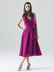 cheap -A-Line Halter Neck / V Neck Tea Length Chiffon Bridesmaid Dress with Sash / Ribbon / Bow(s) / Ruched