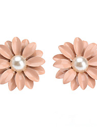 cheap -Women's Stud Earrings Flower Ladies Classic Pearl Earrings Jewelry Pink For Party