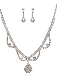 Недорогие -чудесный сплав чешский стразами покрытием ожерелье свадьбы невесты и серьги комплект ювелирных изделий