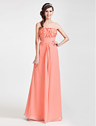 cheap -Sheath / Column Floral Open Back Formal Evening Wedding Party Dress Strapless Sleeveless Floor Length Chiffon with Criss Cross Ruched Side Draping 2020