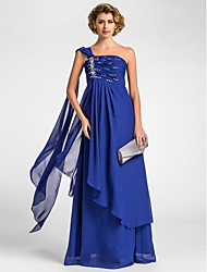 cheap -A-Line Mother of the Bride Dress Sparkle & Shine One Shoulder Watteau Train Floor Length Chiffon Sleeveless with Beading Draping Side Draping 2020