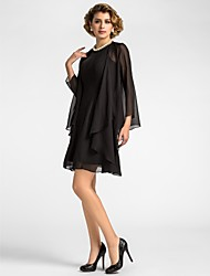 cheap -A-Line Jewel Neck Knee Length Chiffon Mother of the Bride Dress with Draping by LAN TING BRIDE® / Wrap Included