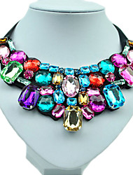 cheap -Women's Synthetic Diamond Statement Necklace Bib Emerald Cut Rainbow Ladies Fashion Colorful Color Resin Rhinestone Imitation Diamond Necklace Jewelry For Wedding Party Daily