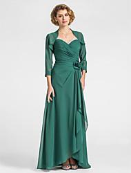 cheap -Sheath / Column Mother of the Bride Dress V Neck Floor Length Chiffon Sleeveless with Criss Cross Beading Draping 2021