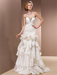 cheap -Fit & Flare Wedding Dresses Sweetheart Neckline Floor Length Organza Satin Taffeta Sleeveless with 2020 / Feather