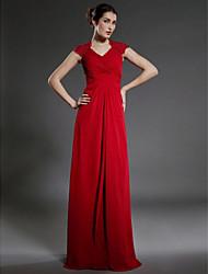 cheap -Sheath / Column Mother of the Bride Dress Elegant V Neck Floor Length Chiffon Sleeveless with Lace Criss Cross 2020