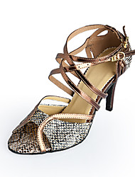 cheap -Women's Dance Shoes Latin Shoes Ballroom Shoes Heel Buckle Stiletto Heel Bronze Buckle / Leather