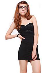 cheap -Women's Club Sophisticated Mini Slim Sheath Skater Dress Backless Strapless Cotton Black Leopard S M L