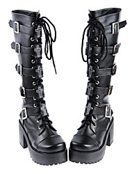 cheap -Women's Lolita Shoes Boots Gothic Lolita Punk Lolita Handmade High Heel Shoes Solid Colored 8 cm Black PU Leather / Polyurethane Leather Polyurethane Leather Halloween Costumes