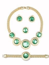cheap -Women's Luxury Round Gemstones Golden 4-Pieces Set