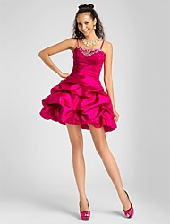 cheap -Ball Gown Homecoming Cocktail Party Prom Dress Sweetheart Neckline Spaghetti Strap Sleeveless Short / Mini Taffeta with Pick Up Skirt Criss Cross Beading 2020