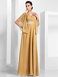 cheap -A-Line V Neck Floor Length Chiffon Elegant Formal Evening / Wedding Party Dress with Appliques / Ruched 2020