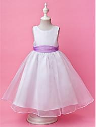 cheap -Princess / A-Line Floor Length Wedding Party Organza / Satin Sleeveless Jewel Neck with Sash / Ribbon / Buttons / Draping / Spring / Fall / Winter