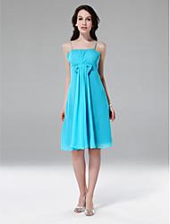 cheap -Sheath / Column Spaghetti Strap Knee Length Chiffon Bridesmaid Dress with Bow(s) / Draping / Side Draping