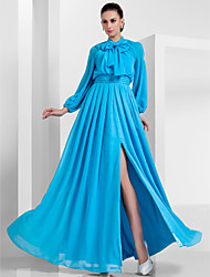 cheap -Ball Gown High Neck Floor Length Chiffon Vintage Inspired Formal Evening / Military Ball Dress 2020 with Beading / Bow(s) / Draping / Split Front