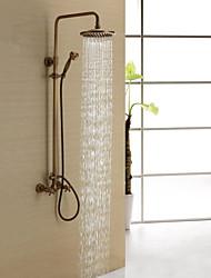 abordables -Robinet de douche - Antique Laiton Antique Système de douche Soupape céramique Bath Shower Mixer Taps / Deux poignées trois trous