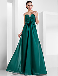 cheap -A-Line Spaghetti Strap Floor Length Chiffon Empire / Green Formal Evening / Holiday Dress with Crystals 2020