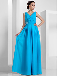 cheap -Sheath / Column V Neck Floor Length Chiffon Elegant Prom / Formal Evening / Military Ball Dress with Beading / Draping / Criss Cross 2020