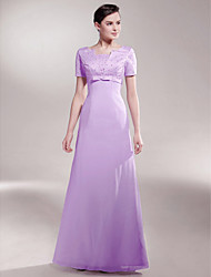 cheap -A-Line Queen Anne Floor Length Chiffon / Satin Mother of the Bride Dress with Beading / Bow(s) by LAN TING BRIDE®