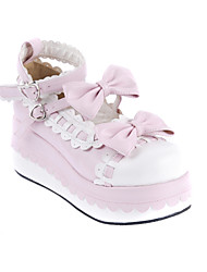 cheap -Women's Lolita Shoes Sweet Lolita Wedge Heel Shoes Bowknot 7 cm White Pink PU Leather / Polyurethane Leather Halloween Costumes / Princess