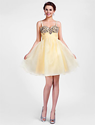 cheap -Ball Gown A-Line Homecoming Cocktail Party Sweet 16 Dress Straps Sweetheart Neckline Sleeveless Short / Mini Organza with Ruched Crystals Beading 2021
