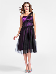 cheap -Ball Gown Homecoming Cocktail Party Dress One Shoulder Sleeveless Knee Length Tulle Stretch Satin with Lace Beading Draping 2021