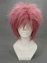 cheap -Fairy Tail Natsu Dragneel Cosplay Wigs Men's 12 inch Heat Resistant Fiber Red Anime