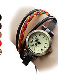 cheap -Women's Bracelet Watch Japanese Quartz Genuine Leather Black / Brown Analog Ladies Bohemian Fashion - Red Light Brown Rainbow
