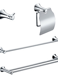 cheap -Brass Chrome Finish Bathroom Accessory Sets (Include Robe Hooks,Toilet Roll Holders,2 Towel Bars)