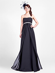 cheap -Sheath / Column Strapless Floor Length Chiffon Bridesmaid Dress with Beading / Draping / Side Draping