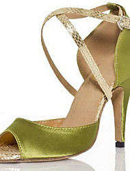 cheap -Women's Latin Shoes Ballroom Shoes Heel Buckle Stiletto Heel Light Green Buckle