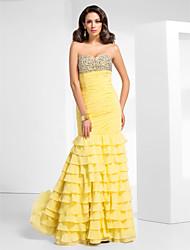 cheap -Mermaid / Trumpet Elegant Sparkle & Shine Prom Formal Evening Military Ball Dress Sweetheart Neckline Strapless Sleeveless Floor Length Chiffon with Beading Side Draping 2021