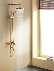 cheap -Shower Faucet - Contemporary Ti-PVD Shower System Ceramic Valve Bath Shower Mixer Taps / Single Handle Three Holes