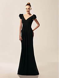 cheap -Mermaid / Trumpet V Neck / Off Shoulder Sweep / Brush Train Chiffon Inspired by TV Stars / Celebrity Style / Vintage Inspired Formal Evening / Military Ball Dress 2020 with Draping / Ruffles