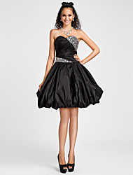 cheap -Ball Gown A-Line Homecoming Cocktail Party Sweet 16 Dress Sweetheart Neckline Strapless Sleeveless Knee Length Taffeta with Criss Cross Crystals Beading 2021