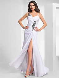 cheap -Sheath / Column Spaghetti Strap Floor Length Chiffon Formal Evening Dress with Beading / Ruched by TS Couture®