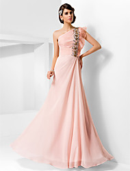 cheap -Sheath / Column Prom Formal Evening Military Ball Dress One Shoulder Sleeveless Floor Length Chiffon with Beading Draping Side Draping 2021