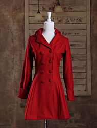 cheap -Long Sleeve Red Woolen Princess Lolita Coat