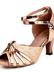 cheap -Women's Latin Shoes Ballroom Shoes Heel Buckle Customized Heel Gold Buckle