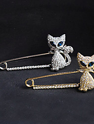 cheap -Crystal Brooches Cat Animal Ladies Luxury Party Casual Fashion Imitation Diamond Brooch Jewelry Gold Silver For Party Special Occasion Birthday Gift Daily