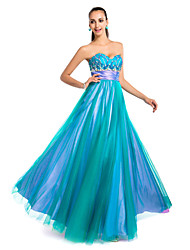 cheap -Ball Gown Strapless / Sweetheart Neckline Floor Length Tulle Open Back Prom / Formal Evening Dress with Beading / Draping / Ruched by
